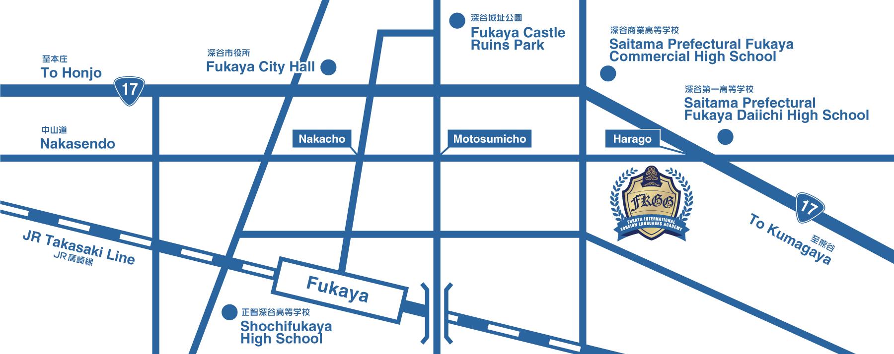 深谷国際外語学院 周辺地図